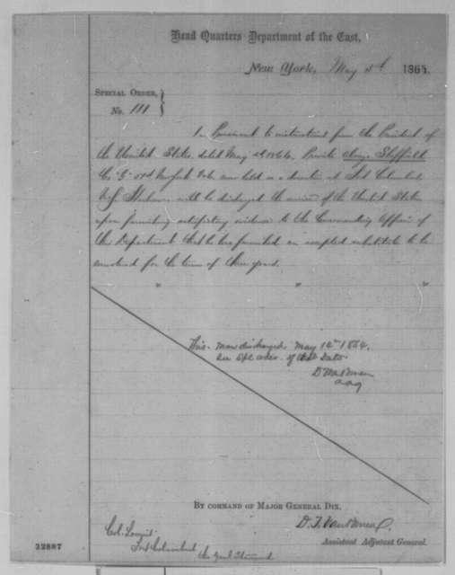 John A. Dix, Thursday, May 05, 1864  (Special Order No. 111)