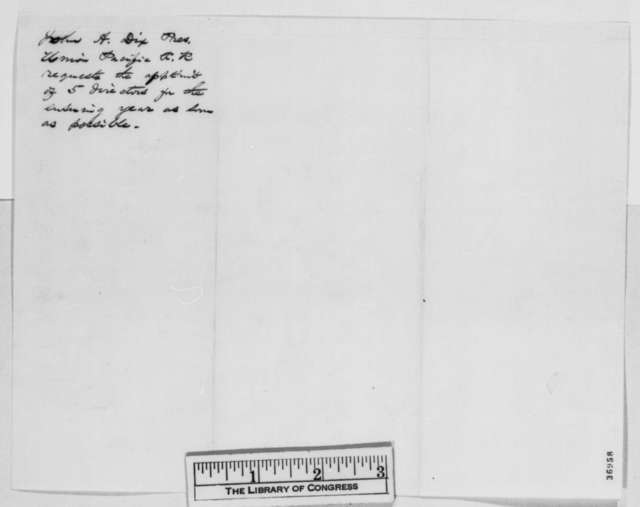 John A. Dix to Abraham Lincoln, Tuesday, October 04, 1864  (Appointment of commissioners for Union Pacific Railroad)