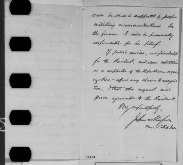 John A. Kasson to Abraham Lincoln, Tuesday, April 26, 1864  (Recommendation)