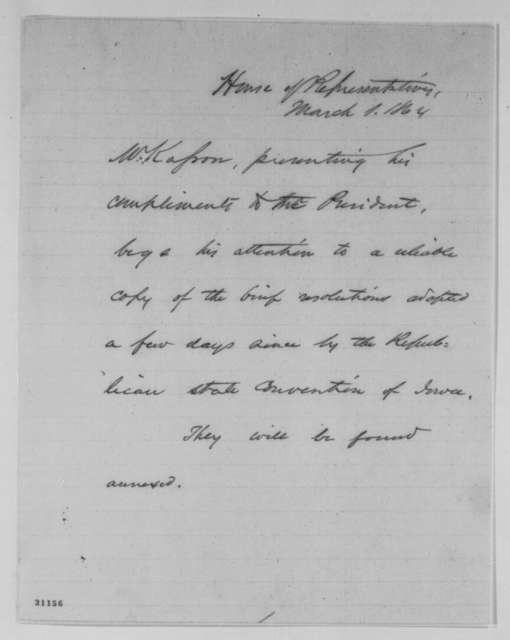 John A. Kasson to Abraham Lincoln, Tuesday, March 01, 1864  (Cover letter)