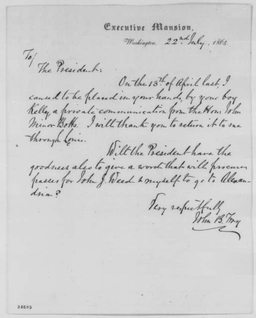 John B. Fry to Abraham Lincoln, Friday, July 22, 1864  (Requests return of letter)