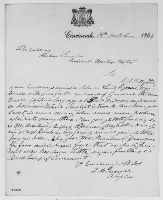 John B. Purcell to Abraham Lincoln, Tuesday, October 18, 1864  (Requests exchange of General William Beall)