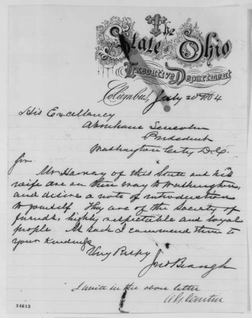 John Brough to Abraham Lincoln, Wednesday, July 20, 1864  (Introduction; endorsed by Andrew G. Curtin)