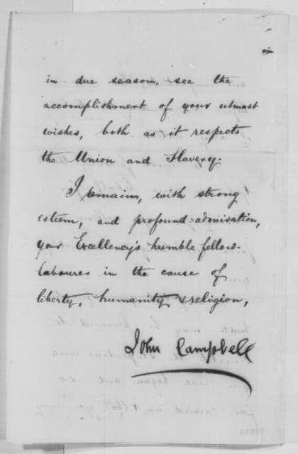 John Campbell to Abraham Lincoln, Friday, June 10, 1864  (Support for Lincoln's re-nomination in Great Britain)