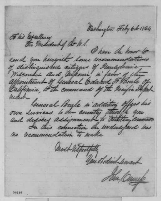 John Conness to Abraham Lincoln, Saturday, February 06, 1864  (Recommendation for Edward Beale)
