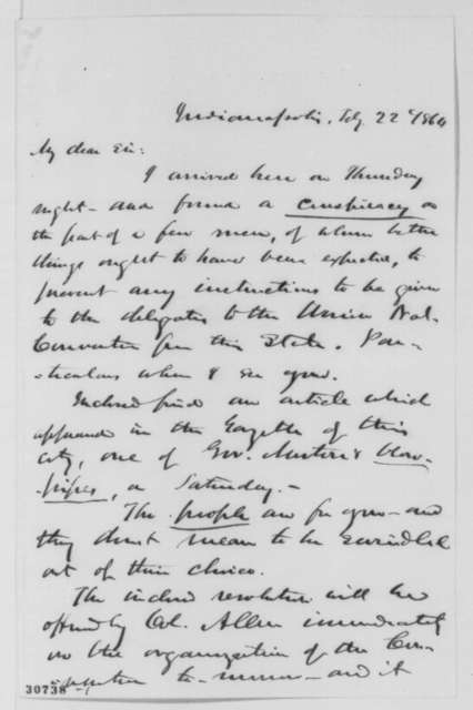 John D. Defrees to Abraham Lincoln, Monday, February 22, 1864  (Indiana politics)