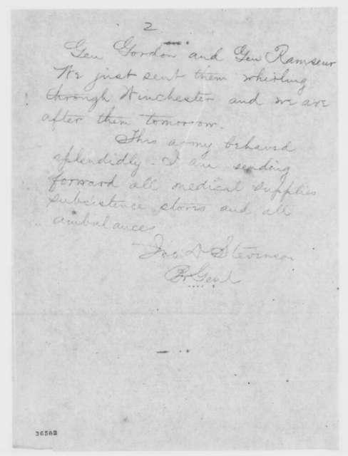John D. Stevenson to Edwin M. Stanton, Tuesday, September 20, 1864  (Telegram conveying dispatch from General Sheridan)