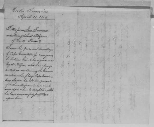 John Evans to Abraham Lincoln, Monday, April 11, 1864  (Writes on behalf of Charles Garretson)