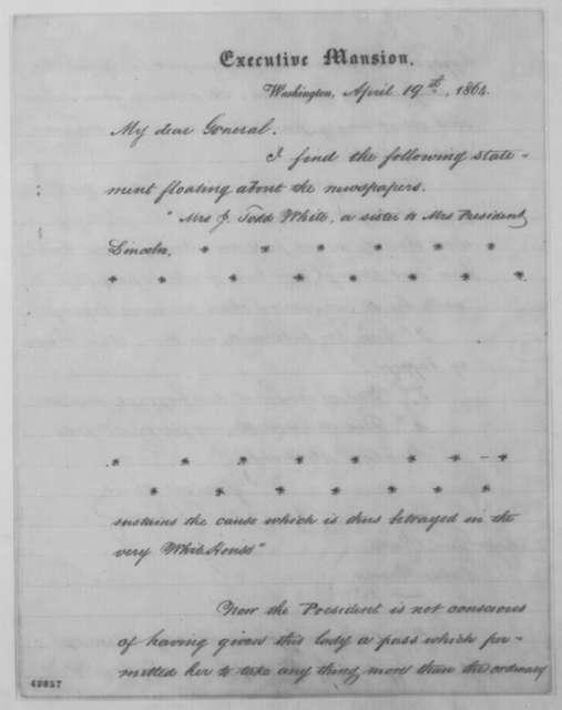 John G. Nicolay to Benjamin F. Butler, Tuesday, April 19, 1864  (Case of Martha Todd White)