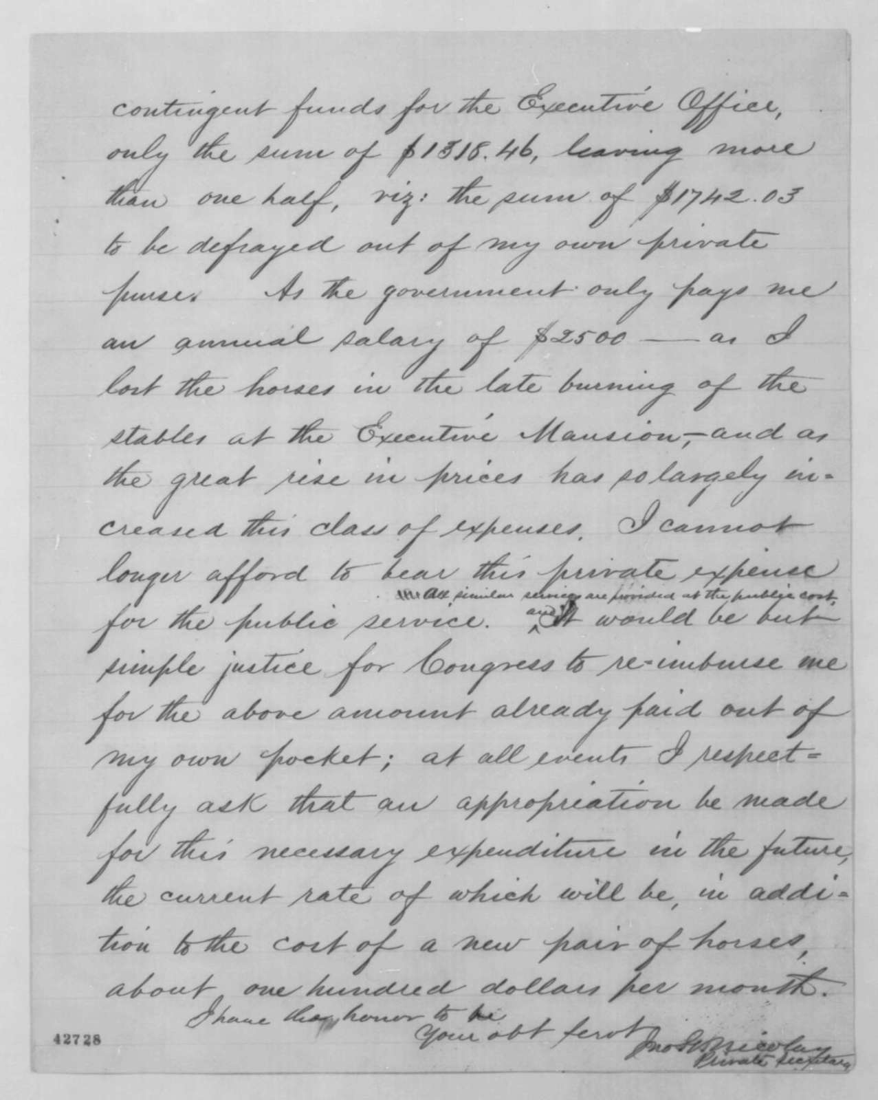 John G. Nicolay to Thaddeus Stevens, Monday, February 15, 1864  (Funds for carriage)