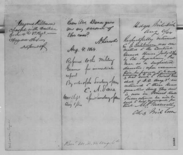 John Hay, Thursday, August 04, 1864  (Memorandum concerning case of Cyrus Kilburn; endorsed by Abraham Lincoln, et al.)