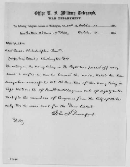 John J. Davenport to W. W. Fulton, Tuesday, October 11, 1864  (Telegram reporting vote of Penn. soldiers)