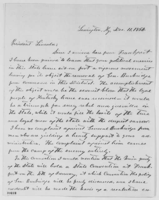 John L. Scott to Abraham Lincoln, Sunday, December 11, 1864  (Political affairs in Kentucky)