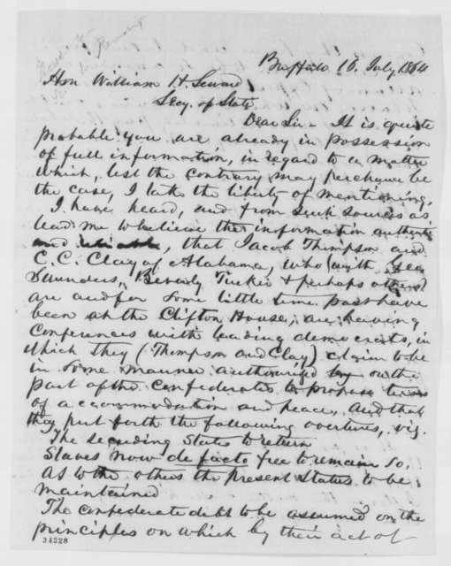 John L. Talcott to William H. Seward, Saturday, July 16, 1864  (Peace talks at New York)