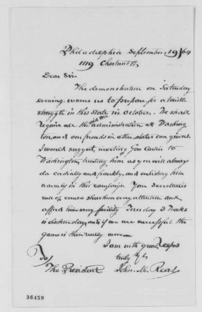 John M. Read to Abraham Lincoln, Monday, September 19, 1864  (Pennsylvania politics)