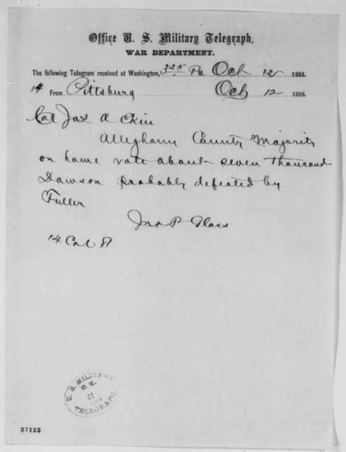 John P. Glass to James A. Ekin, Wednesday, October 12, 1864  (Telegram reporting Penn. election results)