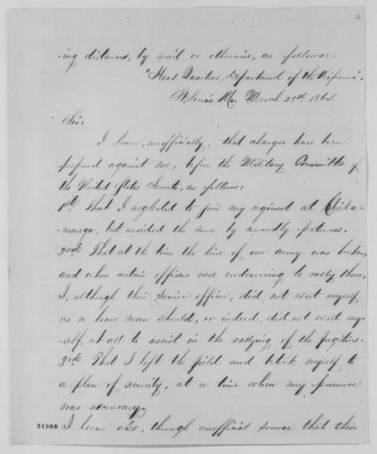 John P. Sanderson to Abraham Lincoln, Thursday, March 31, 1864  (Charges made against Sanderson)