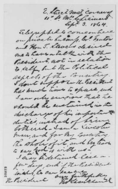 John Shankland to Abraham Lincoln, Saturday, September 03, 1864  (Politics)