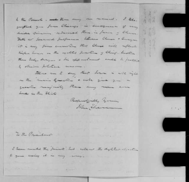 John Sherman to Abraham Lincoln, Saturday, October 22, 1864  (Appointment of Chase to Supreme Court)