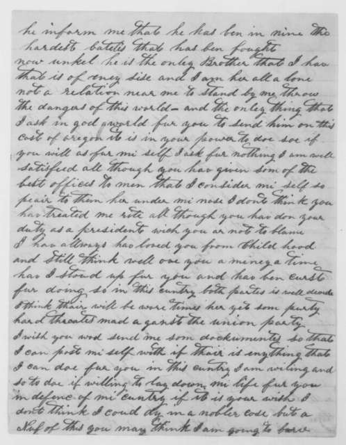 John T. Hanks to Abraham Lincoln, Thursday, February 25, 1864  (Personal affairs)