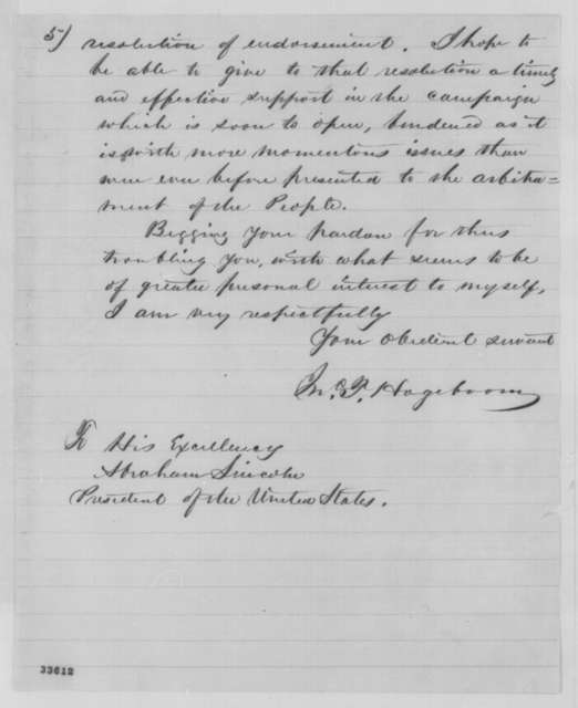 John T. Hogeboom to Abraham Lincoln, Wednesday, June 08, 1864  (Support)