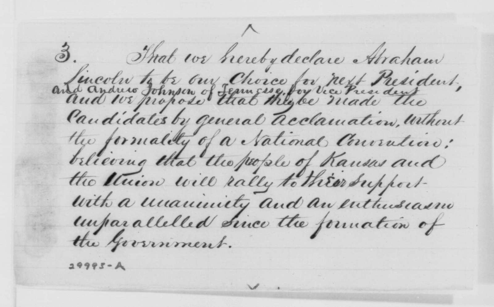 John T. Morton to John G. Nicolay, Saturday, January 30, 1864  (Sends resolutions from Kansas Legislature)