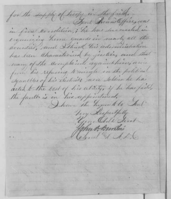 John V. Dubois to William S. Rosecrans, Monday, July 25, 1864  (Military affairs in Missouri)