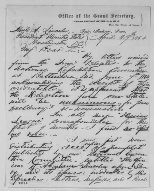 John Van Valkenburg to Abraham Lincoln, Friday, April 29, 1864  (Iowa delegation to Republican National Convention will support Lincoln)