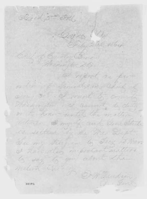 John W. Davidson to War Department, Friday, February 26, 1864  (Telegram concerning dispute with General Steele)