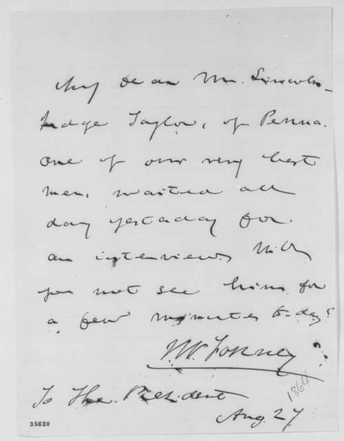John W. Forney to Abraham Lincoln, August 27, 1864  (Introduction)