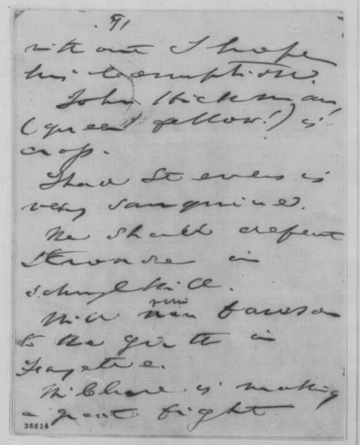 John W. Forney to Abraham Lincoln, Saturday, September 24, 1864  (Political affairs in Pennsylvania)