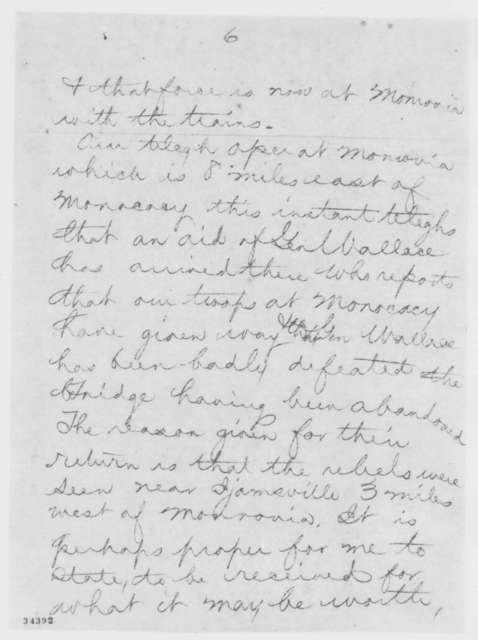 John W. Garrett to Abraham Lincoln, Saturday, July 09, 1864  (Telegram concerning battle at Monocacy; with copy)