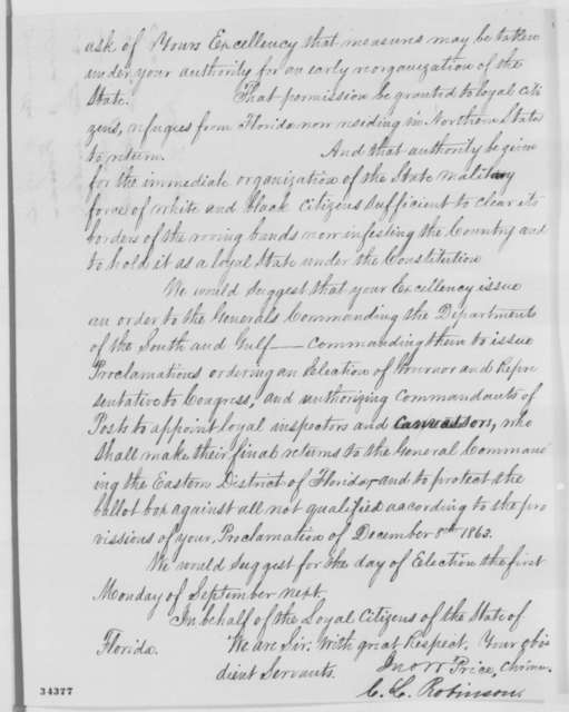 John W. Price and C. L. Robinson to Abraham Lincoln, Saturday, July 09, 1864  (Organization of government in Florida)