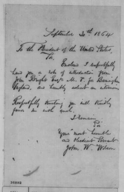 John W. Wilson to Abraham Lincoln, Friday, September 30, 1864  (Seeks interview)