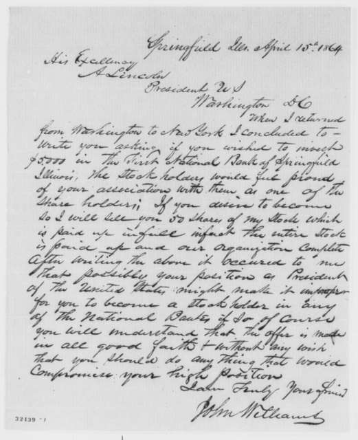 John Williams to Abraham Lincoln, Friday, April 15, 1864  (First National Bank of Springfield)