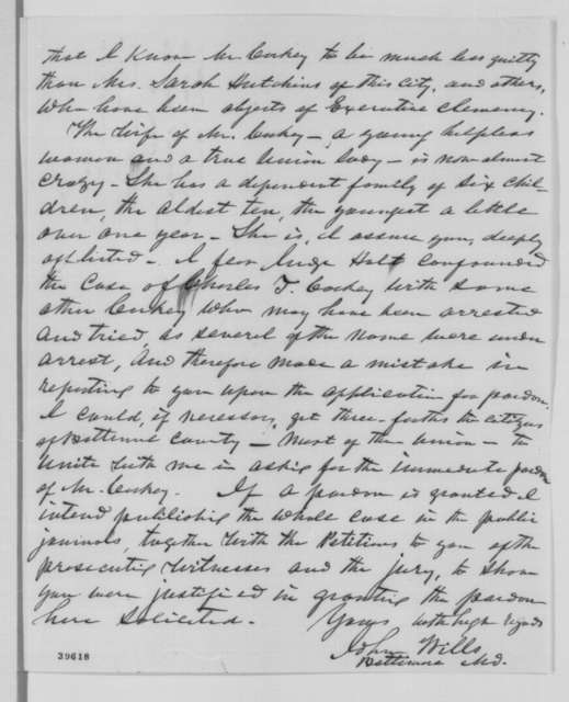 John Wills to Abraham Lincoln, Wednesday, December 28, 1864  (Case of Charles Corkey)