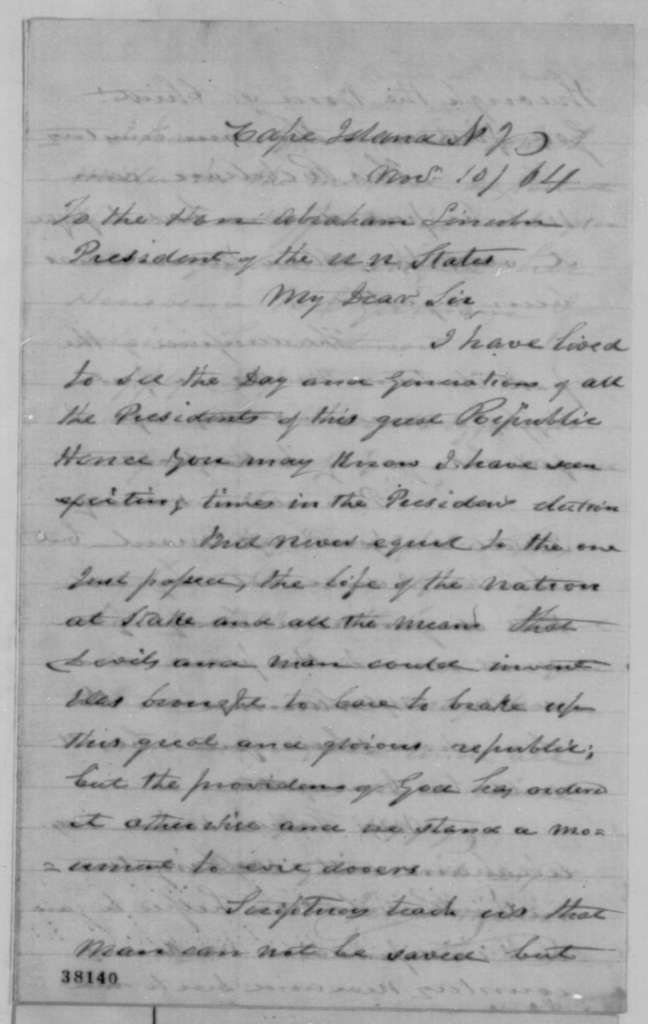 Jonas Miller to Abraham Lincoln, Thursday, November 10, 1864  (Congratulations)