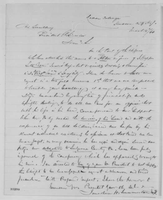 Jonathan H. Summerton to Abraham Lincoln, Friday, March 04, 1864  (Recommendation)