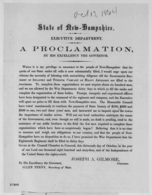 Joseph A. Gilmore, Thursday, October 13, 1864  (Printed proclamation)