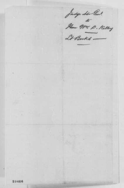 Joseph Holt to William D. Kelley, Thursday, January 14, 1864  (Case of Lt. Berks)
