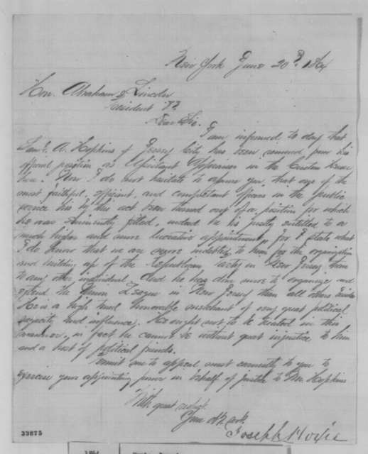 Joseph Hoxie to Abraham Lincoln, Monday, June 20, 1864  (Removal of Samuel A. Hopkins)