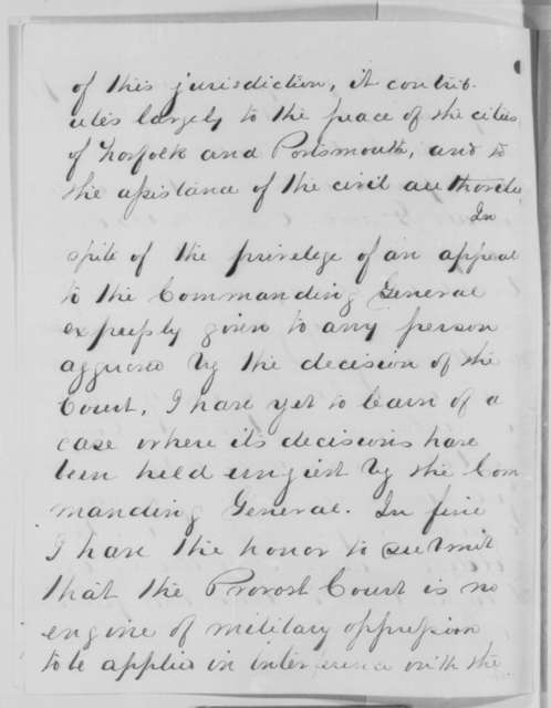 Joseph L. Stackpole to Benjamin F. Butler, Monday, January 18, 1864  (Conduct of Provost Court in Virginia)