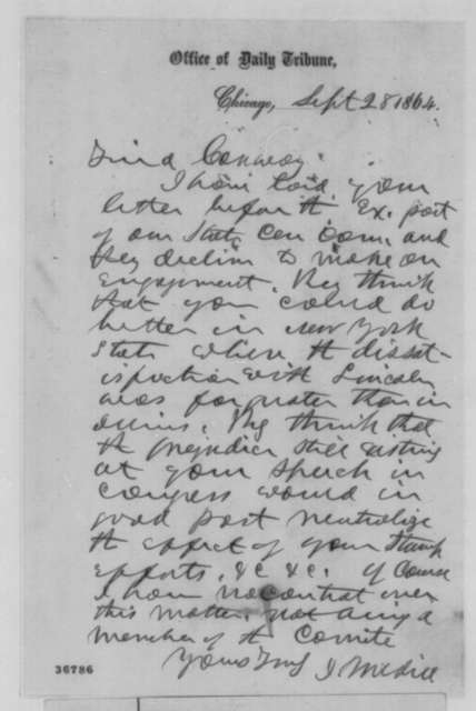 Joseph Medill to Martin F. Conway, Wednesday, September 28, 1864  (Politics)