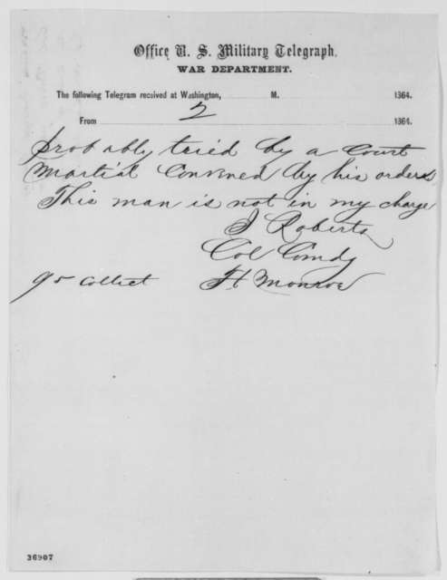 Joseph Roberts to Abraham Lincoln, Saturday, October 01, 1864  (Telegram concerning case of James Hallion)