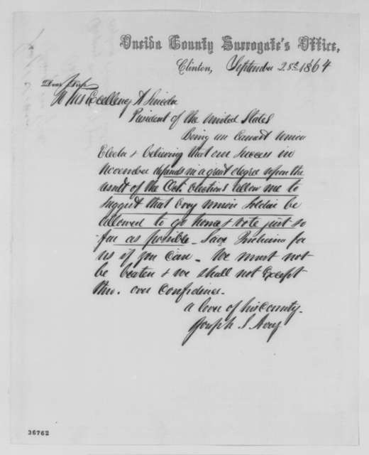 Joseph S. Avery to Abraham Lincoln, Wednesday, September 28, 1864  (Recommends furlough for soldiers to allow them to vote)