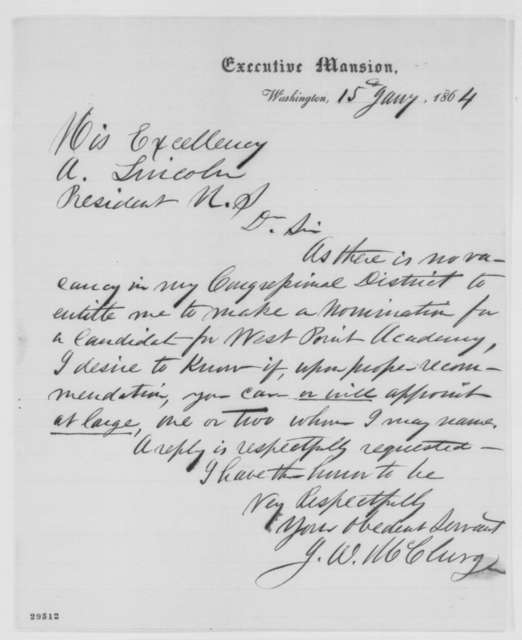 Joseph W. McClurg to Abraham Lincoln, Friday, January 15, 1864  (West Point appointments)