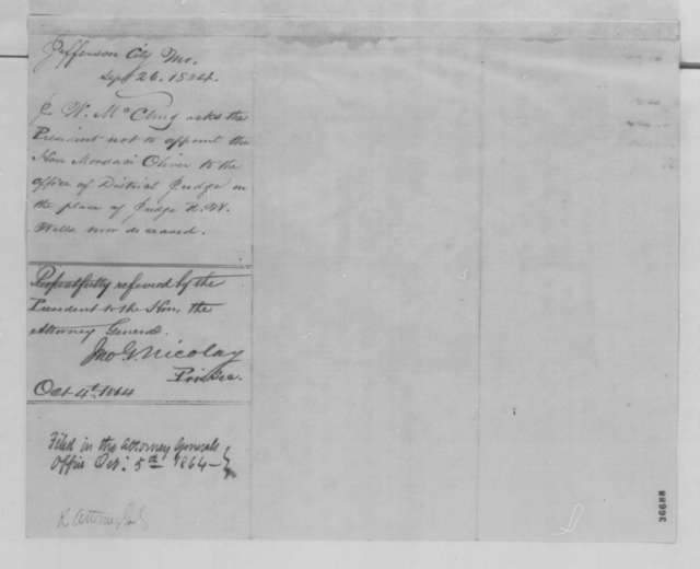 Joseph W. McClurg to Abraham Lincoln, Monday, September 26, 1864  (Judicial appointment in Missouri)