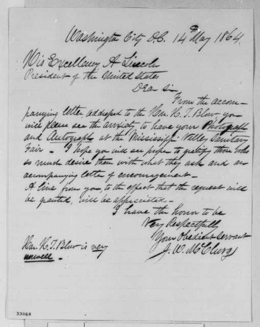 Joseph W. McClurg to Abraham Lincoln, Saturday, May 14, 1864  (Requests donation to Mississippi Valley Sanitary Fair)