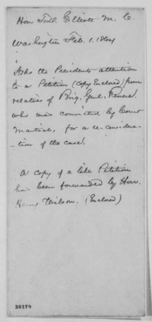Joseph W. Revere to Abraham Lincoln, Thursday, February 04, 1864  (Requests reinstatement)