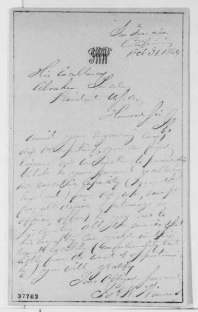 Joseph W. Winans to Abraham Lincoln, Monday, October 31, 1864  (Cover letter)